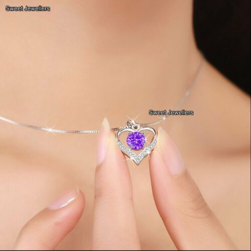925 Silver Amethyst Purple Diamond Heart Necklace Xmas Gift For Her Mother Women