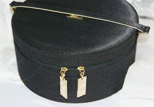 Christian Dior Black Round Parfum Perfume Zippered Bag Travel Case
