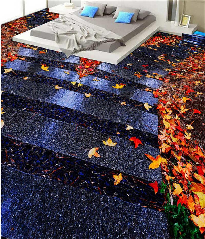 Numberous Leaves 3D Floor Mural Photo Flooring Wallpaper Home Print Decoration