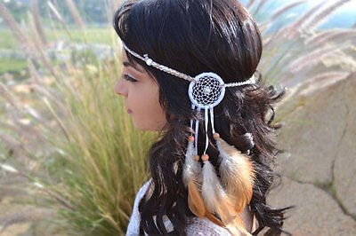 White Cream Dreamcatcher Feather Headband - Tribal - Native American - Festivals