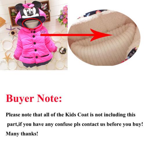 Kids Girls Baby Mickey Minnie Hooded Coat Winter Warm Jacket Fancy Costume 1-4Y