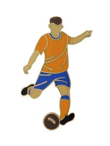 Gold & Royal Blue Football Player Gold Plated Pin Badge