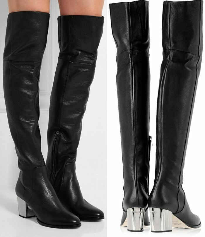 New Jimmy Jimmy Jimmy Choo Mercer Black Leather Over the Knee Tall Boot shoes sz 35.5 a00a23