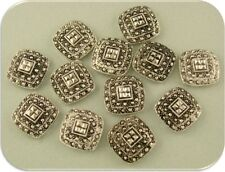2 Hole Beads / Buttons Marcasite Pattern Squares ~ Double Hole Sliders QTY 12