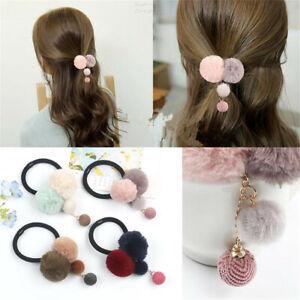 Elastic-Colorful-Faux-Fur-Ball-Hair-Rope-Ponytail-Clamps-Headwear-Hair-Curler