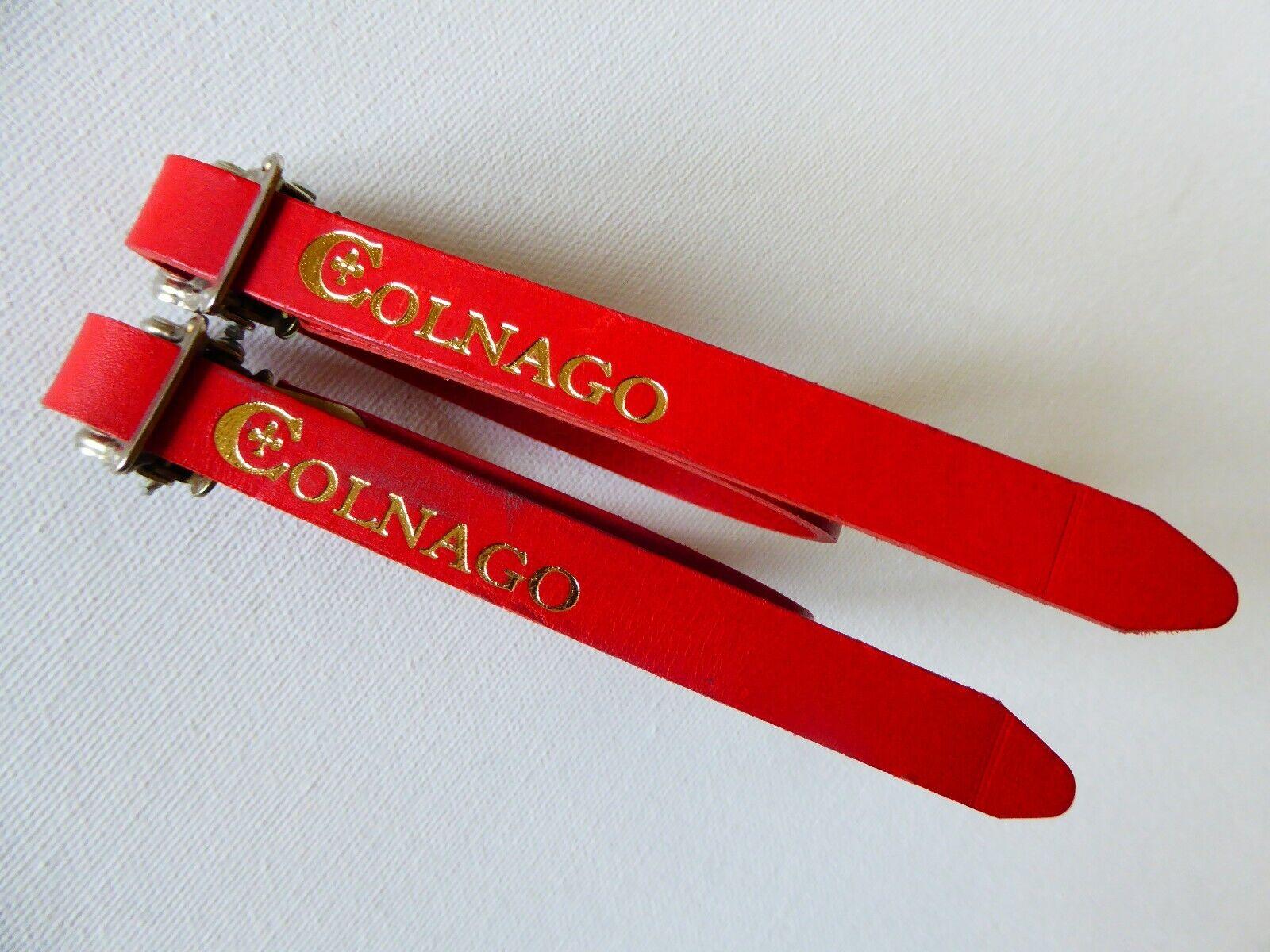 Vintage NOS  Colnago   Dino Bian   RED Leather Toe Straps your Vintage Ride  big savings
