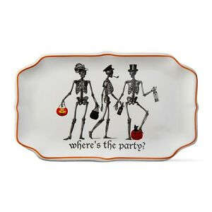 Skeleton-Where-039-s-The-Party-Halloween-party-platter-Ceramic-by-TAG