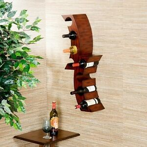 Image Is Loading Wall Mount Wine Rack Wood Bottle Holder Bar