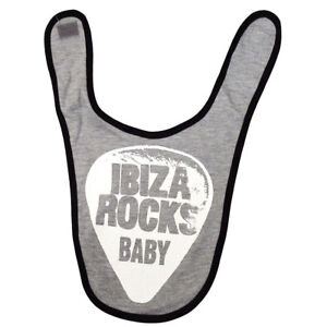 OFFICIAL Ibiza Rocks Baby Bib NEW Plectrum Logo BLACK Boys Girls RRP £20.00