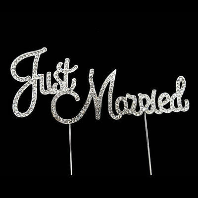 JUST MARRIED WEDDING CAKE TOPPER PICK DECORATION SILVER RHINESTONE DIAMANTE