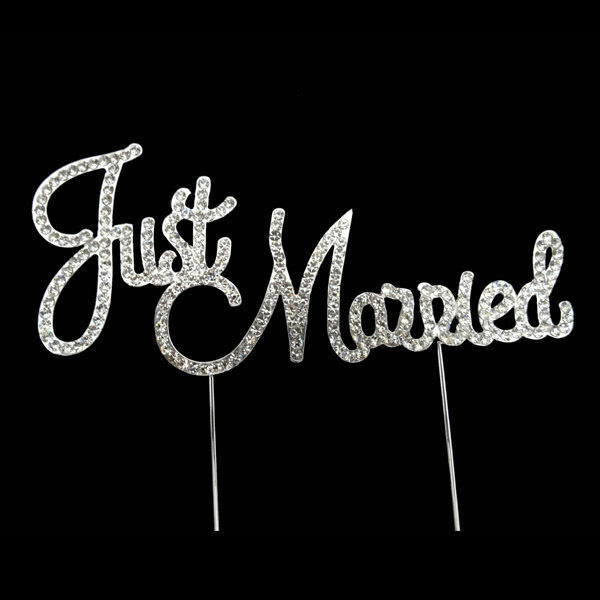 JUST MARRIED WEDDING CAKE TOPPER PICK DECORATION SILVER RHINESTONE DIAMANTE