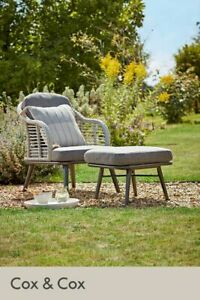 Cox & Cox Lowe Outdoor Summer Lounge Chair & Foot Stool - RRP £450