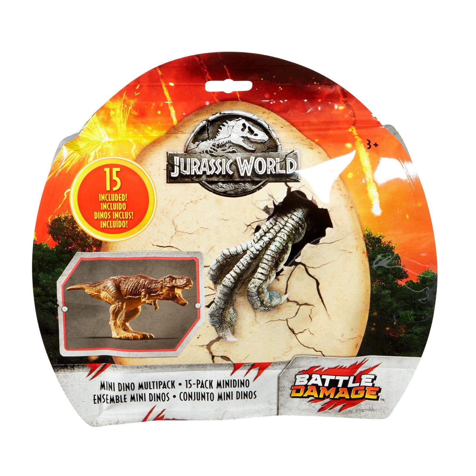 Jurassic World 2 MINI DINO borsa MULTIPACK 15 SET battaglia DAMAGE EXCLUSIVE DINOSAUR