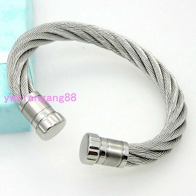 Multi-choose 316L Stainless Steel Cable Twisted Wire Bangle Bracelet Cuff Men