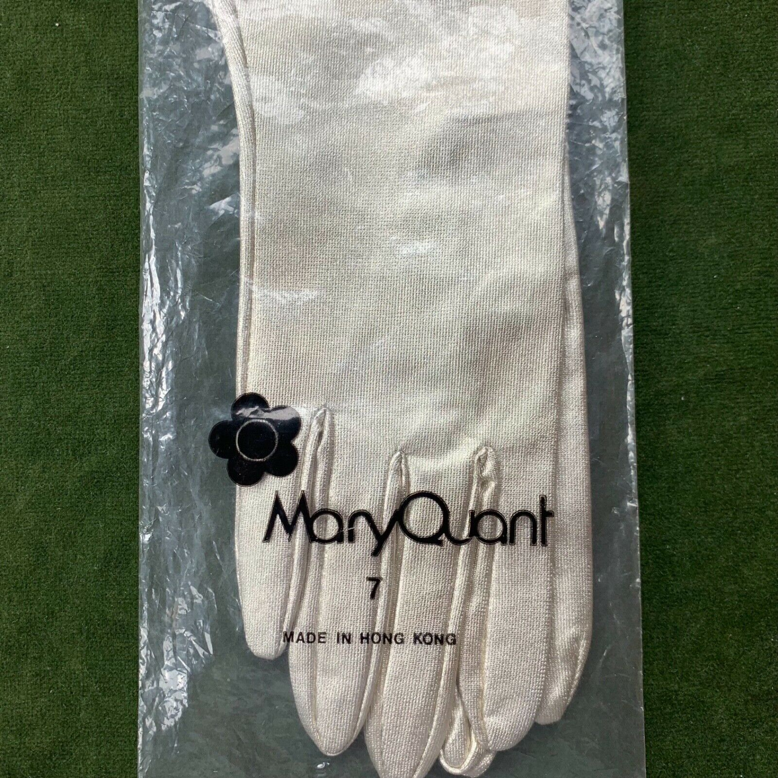 Mary Quant Gloves 1960s 1970s Metallic Tricot Nylon Hong Kong Size 7 Vintage