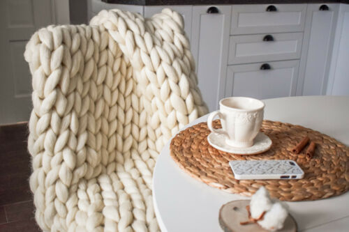 Chunky Knit Blanket SUPPORT USA Small Business! Knit Blanklet Merino Blanket
