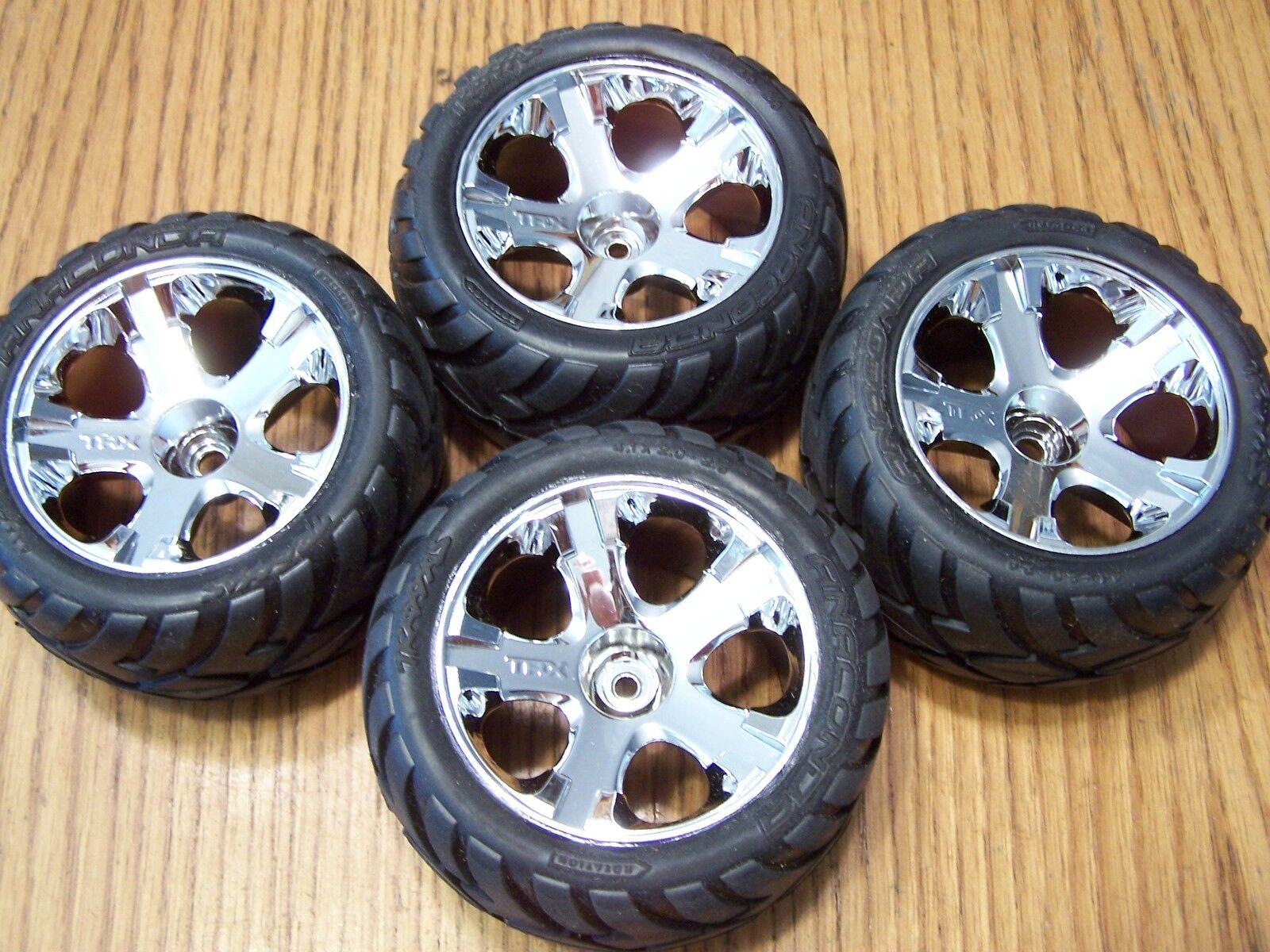 4 Traxxas 5507 3.3 Jato Front & Rear Anaconda Tires w  Chrome Wheels 5576R 5577R