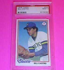 1978-Topps-Baseball-448-Bill-Castro-Brewers-PSA-9-MINT-High-Grade-card