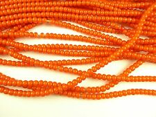 "26"" strand orange white heart glass seed trade beads tribal components AA-0062"