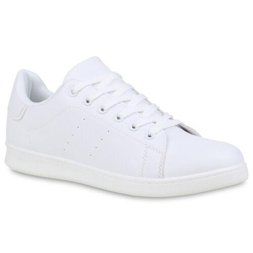 Herren Sneaker Low Freizeitschuhe Schnürer Leder-Optik Turnschuhe 898928 Mode