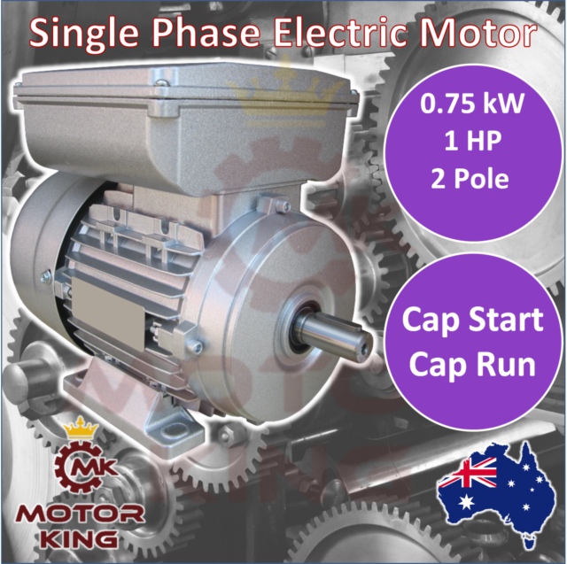 0.75kw 1HP Single-Phase 2800rpm Electric Motor REVERSIBLE 240v B3 2 Pole CSCR