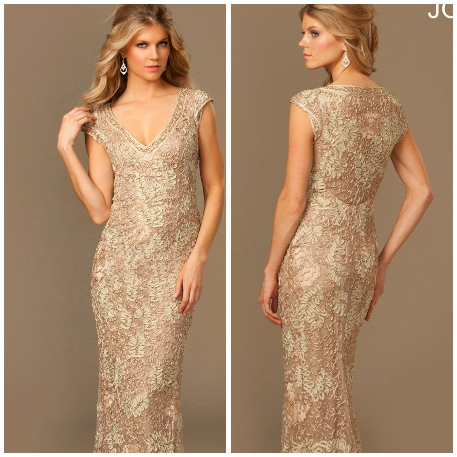 NWT JOVANI CAP SLEEVE LACE  GOWN IN LIGHT  CAFE   AUTENTIC LOW PRICE