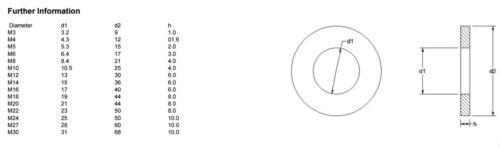 A2 en acier inoxydable lourd épais PLAT RONDELLES pour Boulons-DIN 7349-Rouille Preuve BW