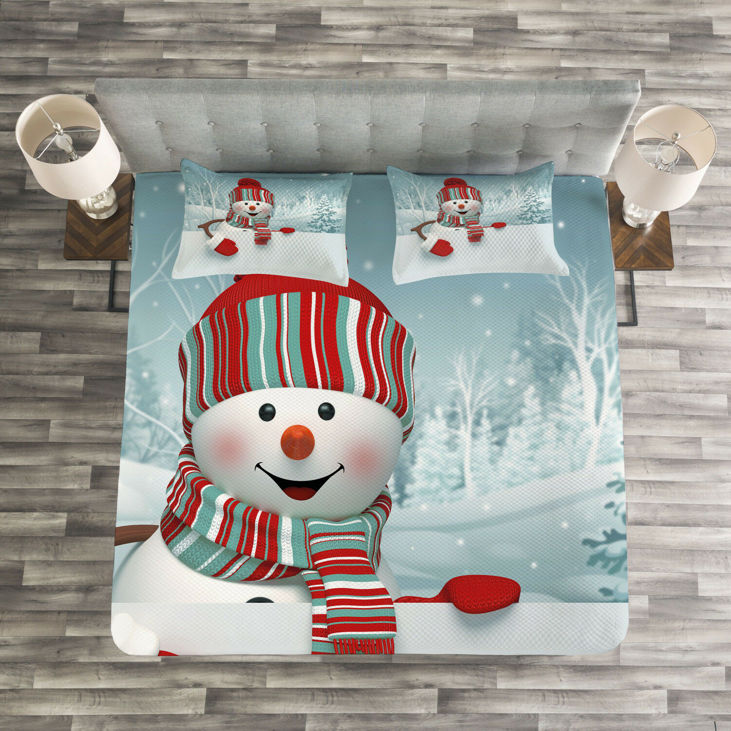 Snowman Quilted Bedspread & Pillow Shams Set, Smiling 3D Mascot Trees Print