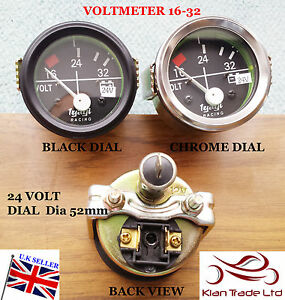 "2/"" 52MM CAR UNIVERSAL 16-32V VOLTMETER CLOCK BLACK CHROME BEZEL 24V DIAL GAUGE"