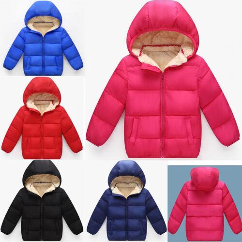 Kids Baby Boys Girls Add Wool Outerwear Winter Thicken Warm Hooded Jacket Coat