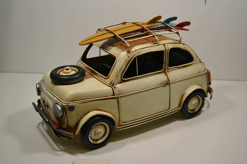 Blech-auto, OLDTIMER con tavole da surf, ITALY , Crema, 32 x 16 x 17 cm  20