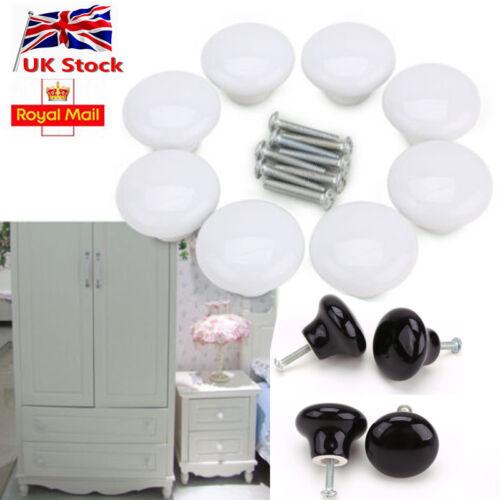UK Chrome Ceramic Crystal Furniture Round Door Knobs Cabinet Drawer Pull Handle