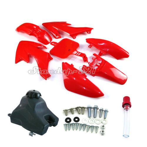 Red Plastic Fairing Fender Tank Kits Screws For Pit Dirt Bike Honda XR50 CRF50
