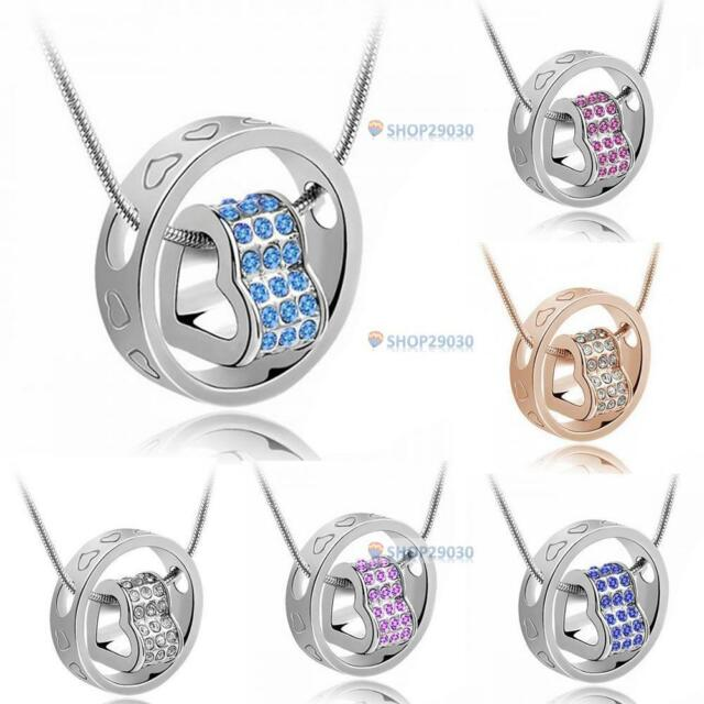 Heart Ring Crystal Rhinestone Necklace Pendant Love Gift For Wife Daughter h,