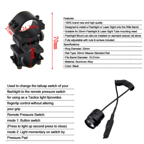Details about  /4in1 RGBW LED Tactical Flashlight Red Green Blue White Hunting Light Torch Kit