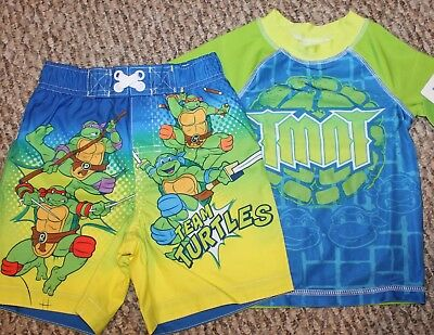 Ninja Turtles T Shirt Tee Toddler Boys Baby Short Sleeve Yellow Top  2T 3T 4T