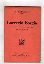 donizetti - lucrezia borgia- libretto barion del 1929