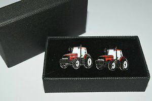 Case International Red Tractor Cufflinks Gift BOXED! Wedding Farming Enamel