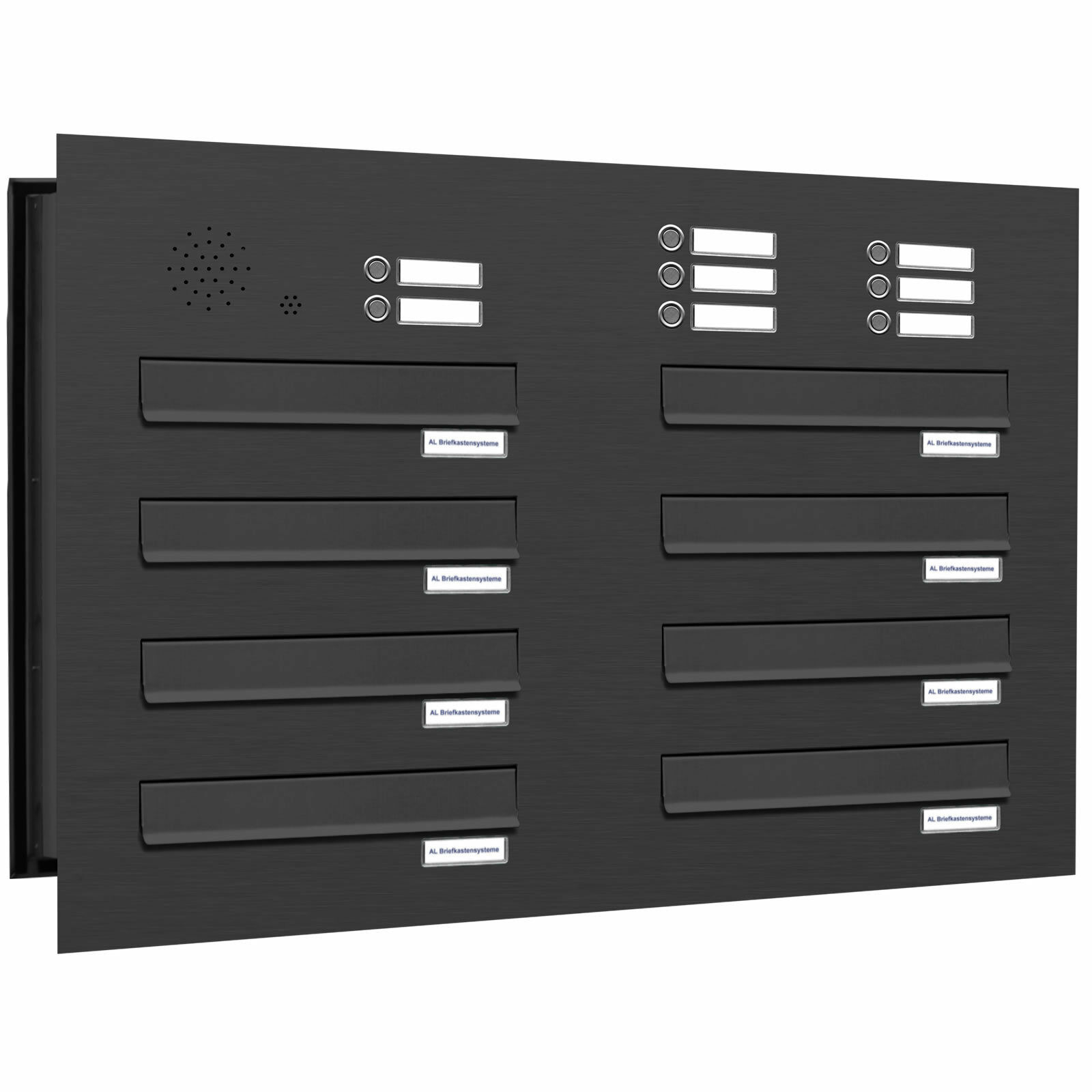 8 er Premium Durchwurf Briefkasten Klingel RAL 7016 anthrazit Postkasten 2x4