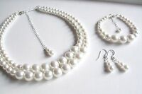 Classic White Pearl Jewelry Set Necklace Bracelet And Earrings Vintage Retro
