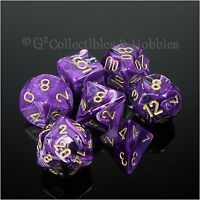 NEW 7pc Set Purple Vortex RPG Dice in Box D&D Game Chessex 7 pc D20 D12 D6 +