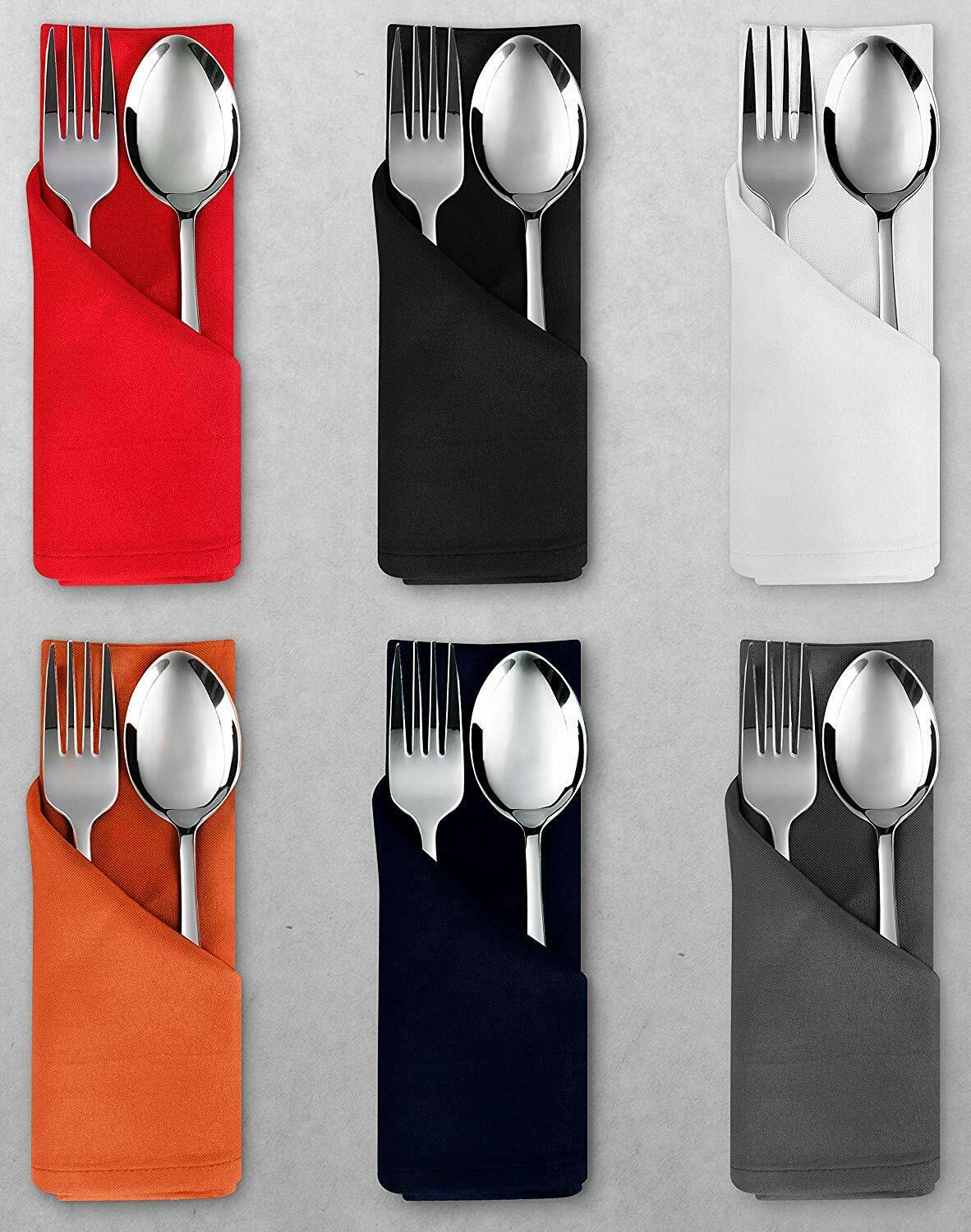 """50 pcs 17/""""x17/"""" or 20/""""x20/"""" Polyester Cloth Linen Dinner Napkins with or w//o Rings"""