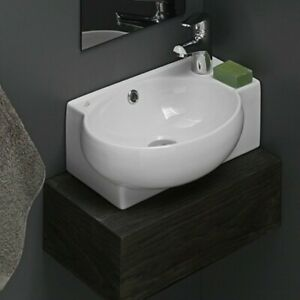CeraStyle Mini Ceramic Wall-Mount Bathroom Sink w/Overflow Drain 17.5in x 11.2in