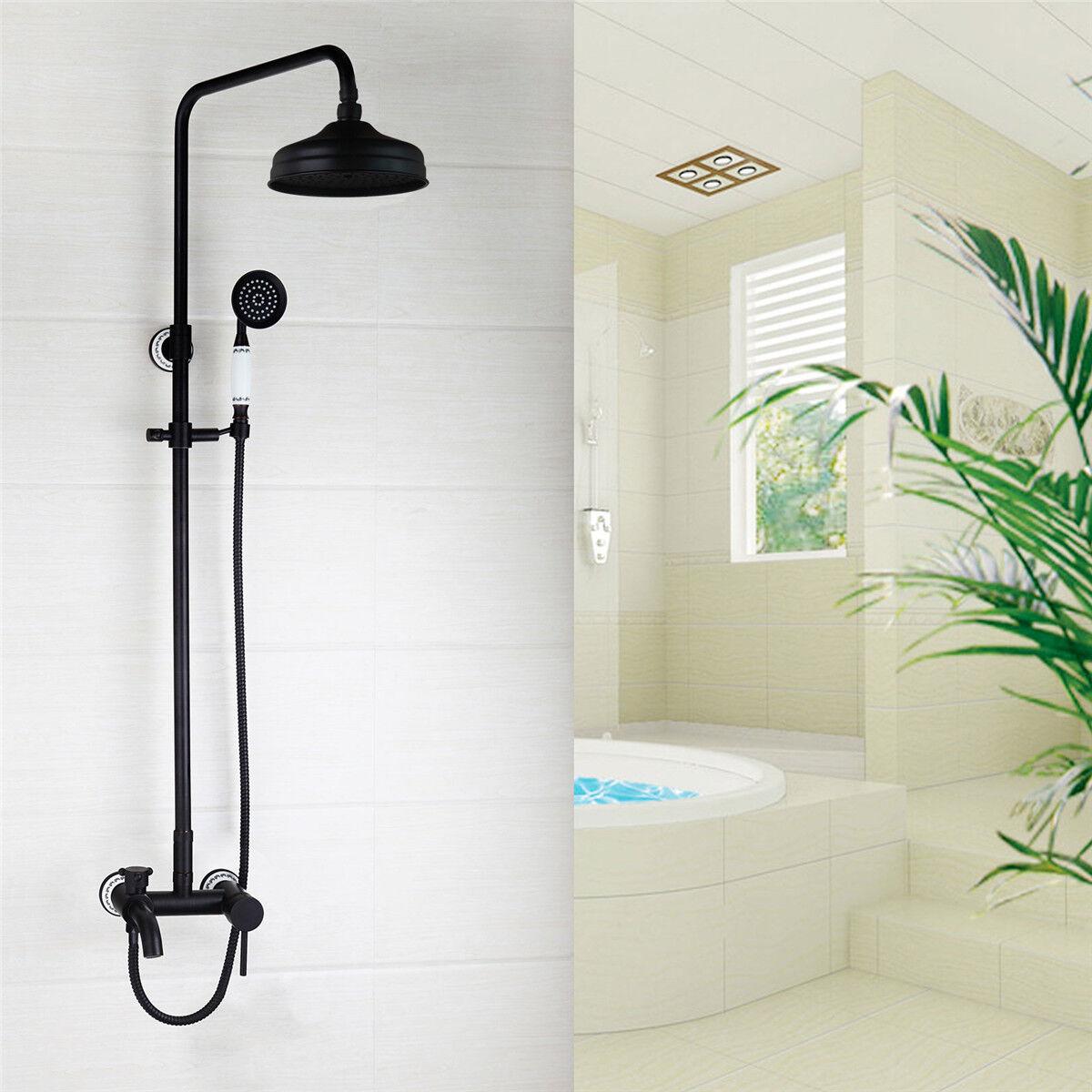 8  d'huile Noir laiton salle de bain précipitations douche mélangeur robinet Set mitigeur bain Robinets