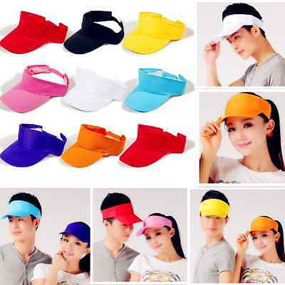 Visor Sun Plain Hat Summer Sports Cap Golf Tennis Beach Adjustable Men Women