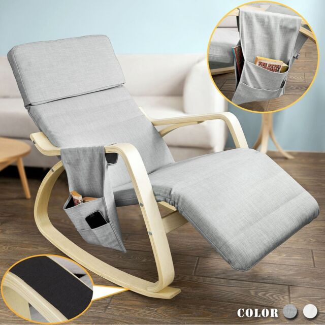 B-Waren SoBuy® Schaukelstuhl mit Tasche,Relaxsessel grau, FST19-HG-Bwaren