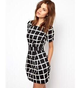 New-Ladies-Womens-short-Sleeve-Casual-Check-Party-Shirt-Dress-Long-Tops-UK-6-14