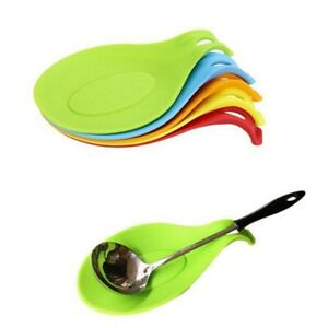 Silicone Spoon Rest Heat Resistant Teabags Tidy Holder Cooking Utensil Dish