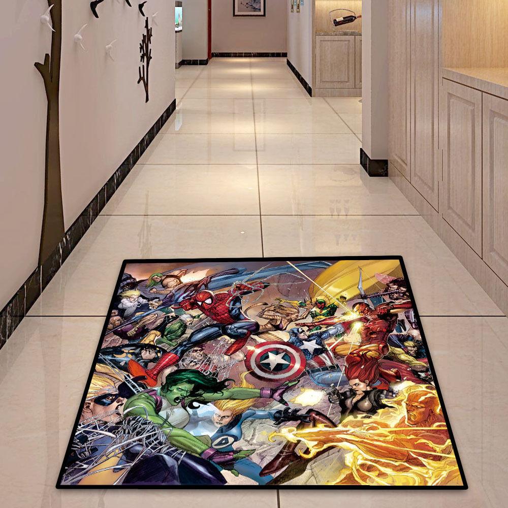 MARVEL COMICS SQUARE COOL Velboa Floor RUG TAPPETO SALA Zerbino Tappetino Antiscivolo   23