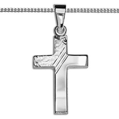 Baby Taufe Kinder Kommunion Zirkonia Kreuz Weißgold 333 mit Silber 925 Kette